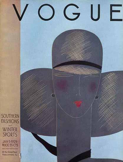 Roaring 1920s Eduardo Garcia Benito Vogue Cover 1929-01-05 Copyright | Roaring 1920s Ad Art and Magazine Cover Art
