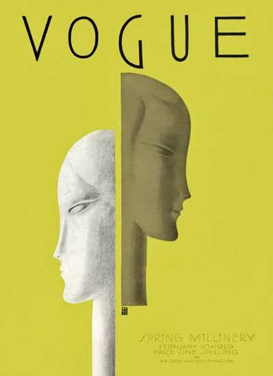 Roaring 1920s Eduardo Garcia Benito Vogue Cover 1929-02-20 Copyright | Roaring 1920s Ad Art and Magazine Cover Art