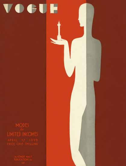 Roaring 1920s Eduardo Garcia Benito Vogue Cover 1929-04-17 Copyright | Roaring 1920s Ad Art and Magazine Cover Art