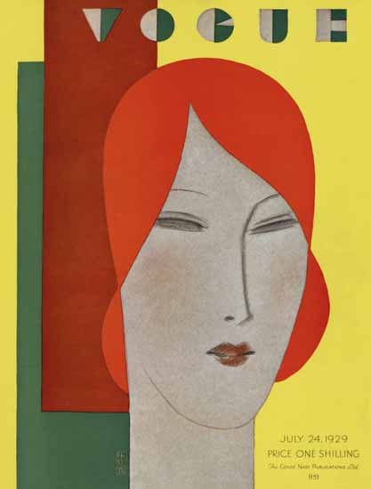 Roaring 1920s Eduardo Garcia Benito Vogue Cover 1929-07-24 Copyright   Roaring 1920s Ad Art and Magazine Cover Art