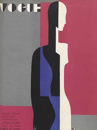 Roaring 1920s Eduardo Garcia Benito Vogue Cover 1929-10-26 Copyright | Roaring 1920s Ad Art and Magazine Cover Art