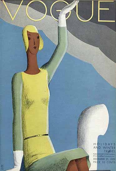 Roaring 1920s Eduardo Garcia Benito Vogue Cover 1929-12-21 Copyright   Roaring 1920s Ad Art and Magazine Cover Art