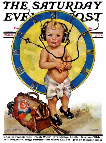 Roaring 1920s Ellen Pyle Cover Artist Saturday Evening Post 1928_01_28 | Roaring 1920s Ad Art and Magazine Cover Art