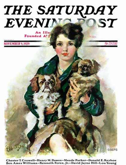 Roaring 1920s Ellen Pyle Cover Artist Saturday Evening Post 1929_11_09 | Roaring 1920s Ad Art and Magazine Cover Art