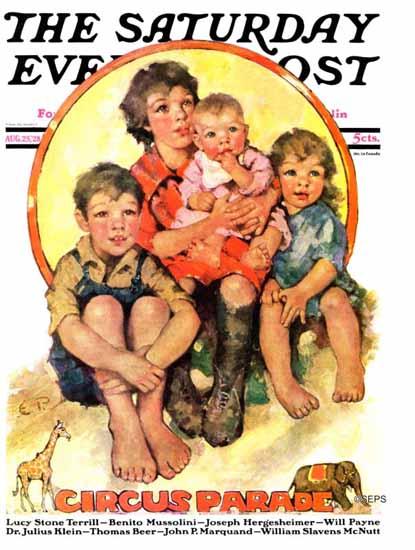 Roaring 1920s Ellen Pyle Saturday Evening Post Circus Parade 1928_08_25 | Roaring 1920s Ad Art and Magazine Cover Art