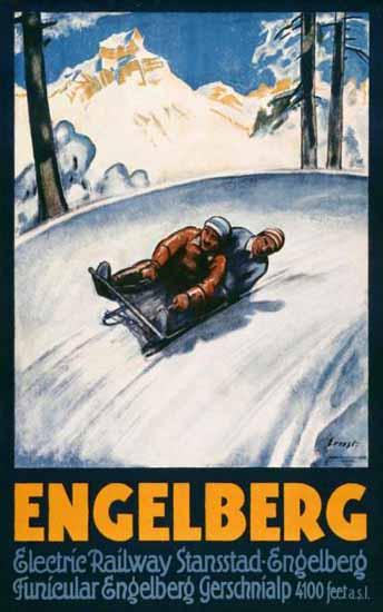 Roaring 1920s Engelberg Railway Stansstad Gerschnialp Switzerland 1925 | Roaring 1920s Ad Art and Magazine Cover Art