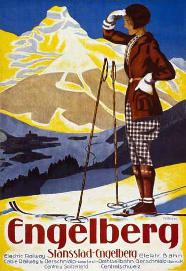 Roaring 1920s Engelberg Stansstad Electric Railway Switzerland 1925 | Roaring 1920s Ad Art and Magazine Cover Art