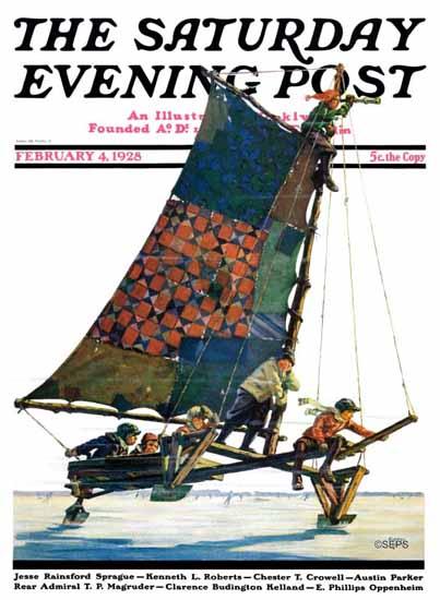Roaring 1920s Eugene Iverd Saturday Evening Post 1928_02_04 | Roaring 1920s Ad Art and Magazine Cover Art