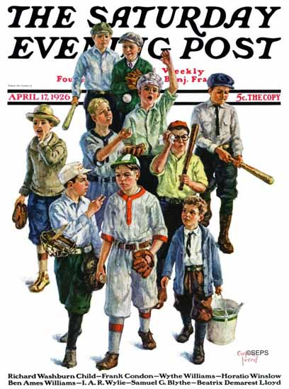 Roaring 1920s Eugene Iverd Saturday Evening Post Baseball 1926_04_17 | Roaring 1920s Ad Art and Magazine Cover Art