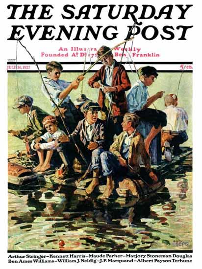 Roaring 1920s Eugene Iverd Saturday Evening Post Fishing 1927_07_30   Roaring 1920s Ad Art and Magazine Cover Art
