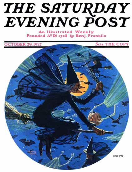 Roaring 1920s Eugene Iverd Saturday Evening Post Halloween 1927_10_29 | Roaring 1920s Ad Art and Magazine Cover Art
