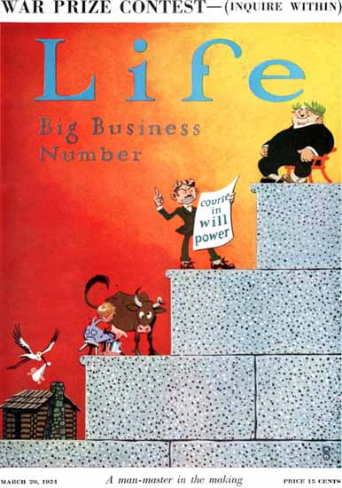 Roaring 1920s FG Cooper Life Cover Big Business 1924-03-20 Copyright | Roaring 1920s Ad Art and Magazine Cover Art