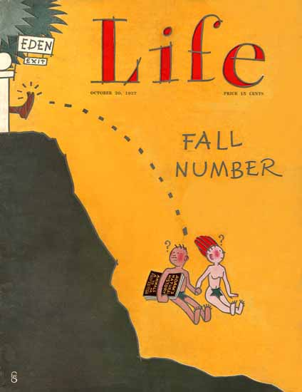 Roaring 1920s FG Cooper Life Cover Eden Exit Fall 1927-10-20 Copyright | Roaring 1920s Ad Art and Magazine Cover Art