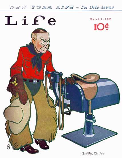 Roaring 1920s FG Cooper Life Magazine Good-Bye 1929-03-01 Copyright   Roaring 1920s Ad Art and Magazine Cover Art