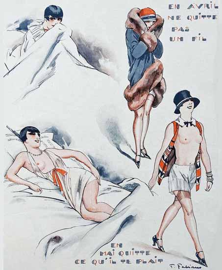 Roaring 1920s Fabien Fabiano La Vie Parisienne 1927 Meteo page   Roaring 1920s Ad Art and Magazine Cover Art