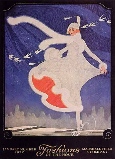 Roaring 1920s Fashions of the Hour Cover January 1920 George Petty   Roaring 1920s Ad Art and Magazine Cover Art