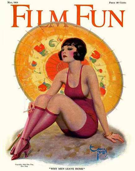 Roaring 1920s Film Fun Magazine Cover 1924 Why Men Leave Home by Enoch Bolles | Roaring 1920s Ad Art and Magazine Cover Art