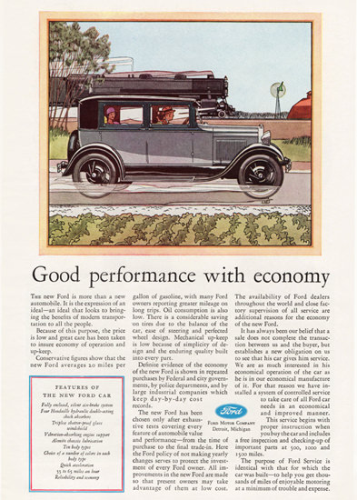 Roaring 1920s Ford Fordor Sedan 1929 Day By Day Record | Roaring 1920s Ad Art and Magazine Cover Art