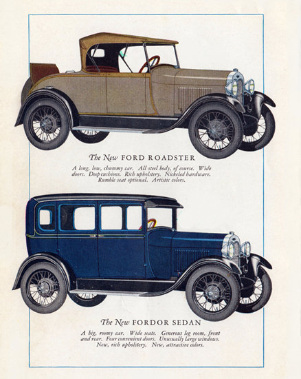 Roaring 1920s Ford Model A Roadster Fordor Sedan 1928 | Roaring 1920s Ad Art and Magazine Cover Art