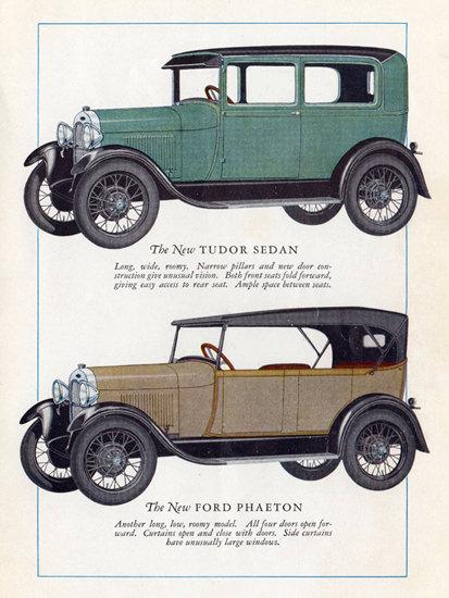 Roaring 1920s Ford Model A Tudor Sedan Phaeton 1928   Roaring 1920s Ad Art and Magazine Cover Art