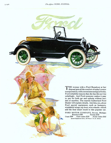 Roaring 1920s Ford Model T Runabout Detroit 1926   Roaring 1920s Ad Art and Magazine Cover Art