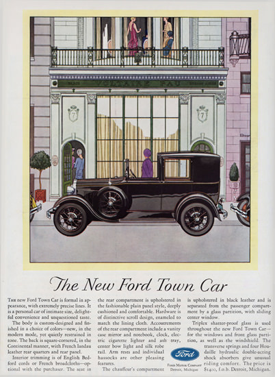 Roaring 1920s Ford Town Car 1929 Chauffeur Compartment | Roaring 1920s Ad Art and Magazine Cover Art