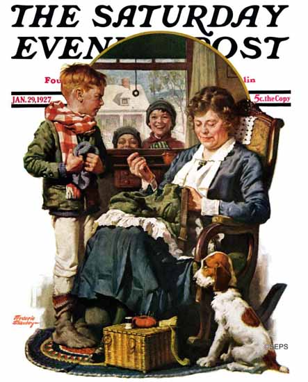 Roaring 1920s Frederic Stanley Saturday Evening Post 1927_01_29   Roaring 1920s Ad Art and Magazine Cover Art