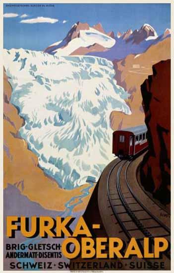 Roaring 1920s Furka Oberalp Brig Andermatt Disentis Switzerland 1925 | Roaring 1920s Ad Art and Magazine Cover Art