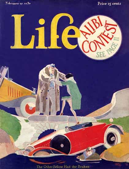 Roaring 1920s Garrett Price Life Cover The Brakes 1927-02-17 Copyright   Roaring 1920s Ad Art and Magazine Cover Art