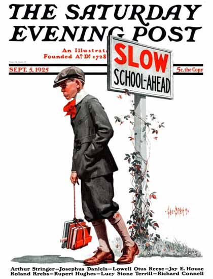 Roaring 1920s George Brehm Saturday Evening Post SLOW 1925_09_05 | Roaring 1920s Ad Art and Magazine Cover Art