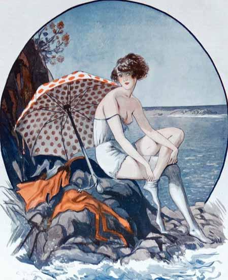 Roaring 1920s George Pavis La Vie Parisienne 1922 La Robinsonne page | Roaring 1920s Ad Art and Magazine Cover Art