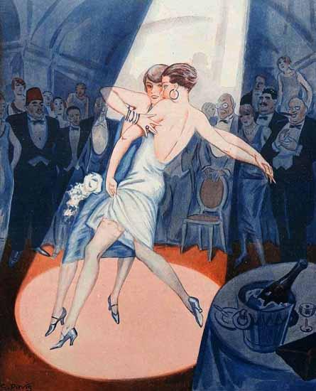 Roaring 1920s George Pavis La Vie Parisienne 1925 Endroit Parisien page | Roaring 1920s Ad Art and Magazine Cover Art