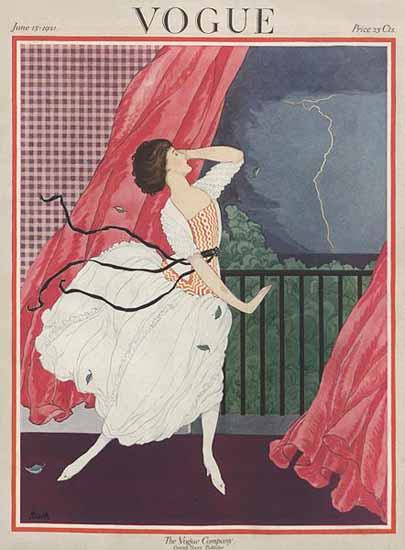 Roaring 1920s George Wolfe Plank Vogue Cover 1921-06-15 Copyright   Roaring 1920s Ad Art and Magazine Cover Art