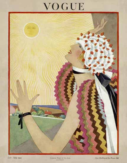 Roaring 1920s George Wolfe Plank Vogue Cover 1922-07-15 Copyright | Roaring 1920s Ad Art and Magazine Cover Art