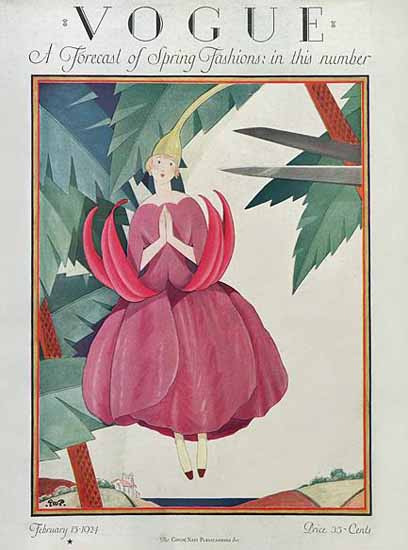 Roaring 1920s George Wolfe Plank Vogue Cover 1924-02-15 Copyright | Roaring 1920s Ad Art and Magazine Cover Art