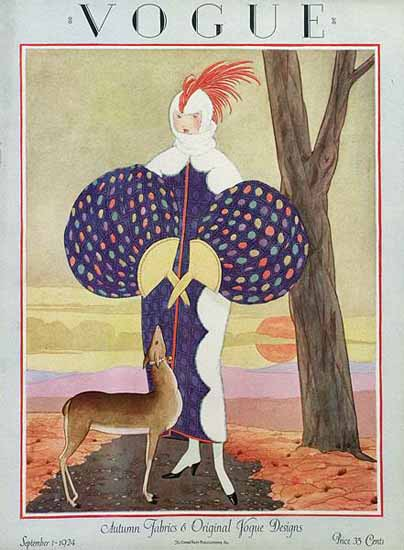 Roaring 1920s George Wolfe Plank Vogue Cover 1924-09-01 Copyright | Roaring 1920s Ad Art and Magazine Cover Art