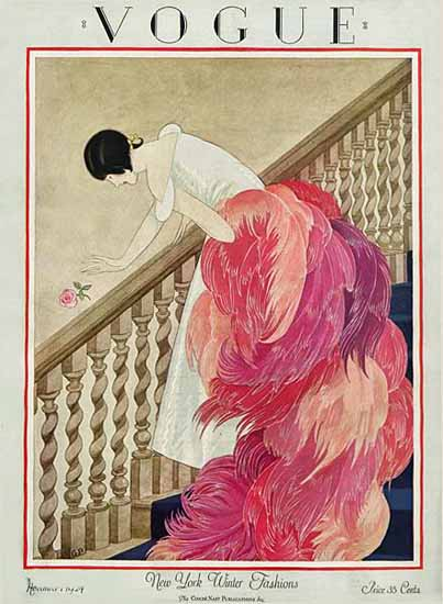 Roaring 1920s George Wolfe Plank Vogue Cover 1924-11-01 Copyright | Roaring 1920s Ad Art and Magazine Cover Art