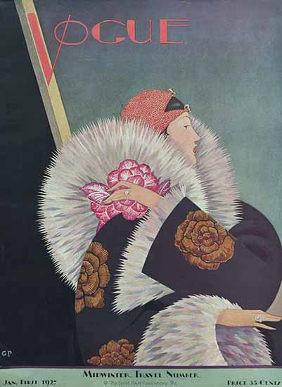 Roaring 1920s George Wolfe Plank Vogue Cover 1927-01-01 Copyright   Roaring 1920s Ad Art and Magazine Cover Art