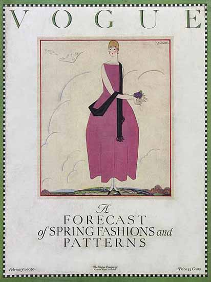 Roaring 1920s Georges Lepape Vogue Cover 1920-02-01 Copyright | Roaring 1920s Ad Art and Magazine Cover Art