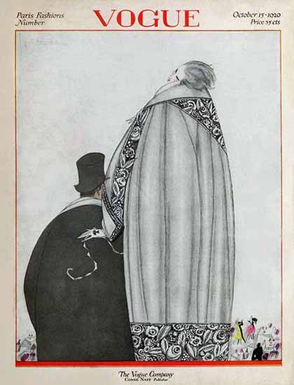 Roaring 1920s Georges Lepape Vogue Cover 1920-10-15 Copyright | Roaring 1920s Ad Art and Magazine Cover Art