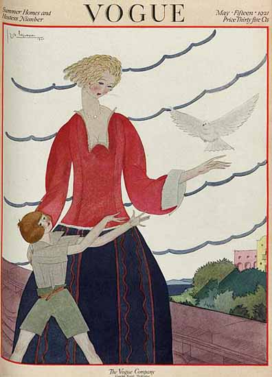 Roaring 1920s Georges Lepape Vogue Cover 1921-05-15 Copyright | Roaring 1920s Ad Art and Magazine Cover Art