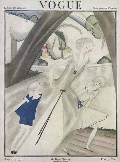 Roaring 1920s Georges Lepape Vogue Cover 1921-08-15 Copyright | Roaring 1920s Ad Art and Magazine Cover Art