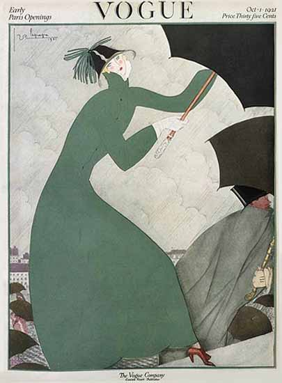 Roaring 1920s Georges Lepape Vogue Cover 1921-10-01 Copyright | Roaring 1920s Ad Art and Magazine Cover Art