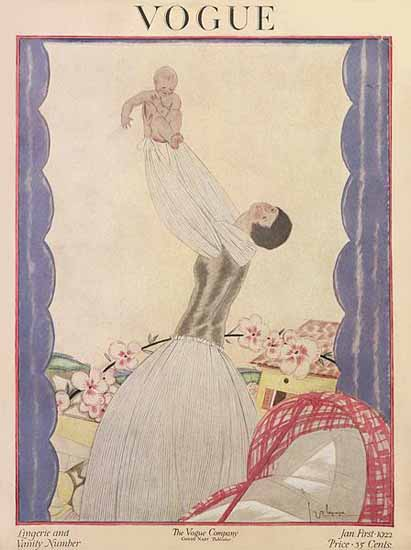 Roaring 1920s Georges Lepape Vogue Cover 1922-01-01 Copyright | Roaring 1920s Ad Art and Magazine Cover Art