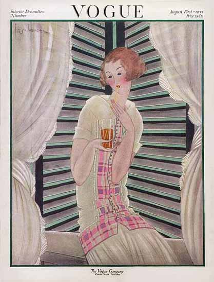 Roaring 1920s Georges Lepape Vogue Cover 1922-08-01 Copyright | Roaring 1920s Ad Art and Magazine Cover Art