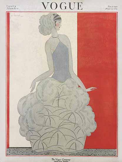 Roaring 1920s Georges Lepape Vogue Cover 1922-11-15 Copyright | Roaring 1920s Ad Art and Magazine Cover Art