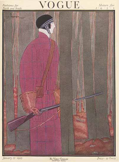 Roaring 1920s Georges Lepape Vogue Cover 1923-01-15 Copyright   Roaring 1920s Ad Art and Magazine Cover Art
