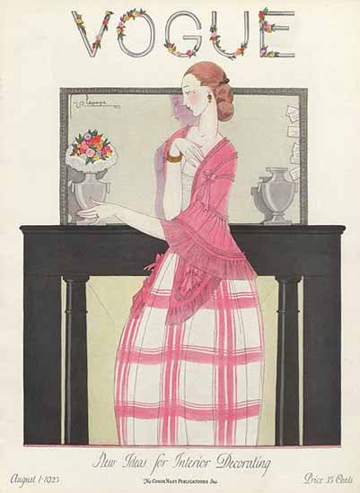 Roaring 1920s Georges Lepape Vogue Cover 1923-08-01 Copyright   Roaring 1920s Ad Art and Magazine Cover Art
