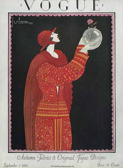 Roaring 1920s Georges Lepape Vogue Cover 1923-09-01 Copyright | Roaring 1920s Ad Art and Magazine Cover Art