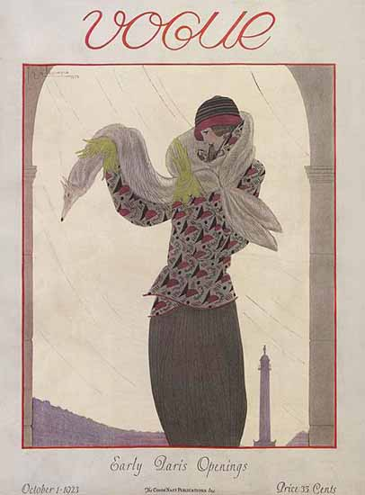 Roaring 1920s Georges Lepape Vogue Cover 1923-10-01 Copyright | Roaring 1920s Ad Art and Magazine Cover Art
